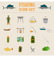 Fishing equipment icon set vector image vector image
