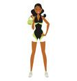 fitness woman lifting kettlebell 04 vector image vector image