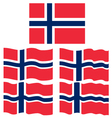 Flat and Waving Flag of Norway vector image vector image