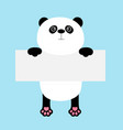funny panda bear hanging on paper board template vector image