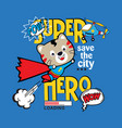 funny super hero cat cartoon vector image vector image