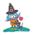 grated happy girl with pumpkin costume and cat vector image