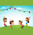 group of adorable kids having fun at birthday vector image