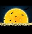 halloween skull graveyard moon bat vector image vector image