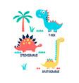 hand drawing dinosaur and slogan vector image