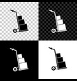 hand truck and boxes icon isolated on black white vector image vector image