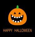 happy halloween pumpkin funny creepy smiling face vector image