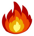 hot fire on white background vector image vector image