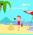 little girl on summer beach day time vacation vector image vector image