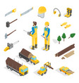 lumberman woodcutter signs 3d icons set isometric vector image vector image