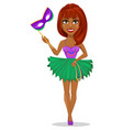 mardi gras jester woman holding mask vector image