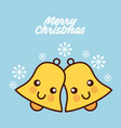 merry christmas kawaii bells smile snowflake vector image