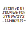 modern latin font or english alphabet hand drawn vector image