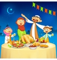 Muslim family in Iftar party vector image vector image