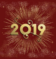new year 2019 firework explosion card gold vector image vector image
