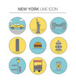 new york line icon set vector image