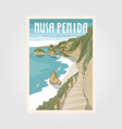 nusa penida bali beach vintage travel poster bali vector image vector image