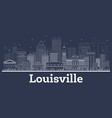 outline louisville kentucky usa city skyline with vector image