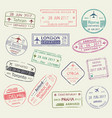 passport stamp travel visa isolated set design vector image