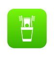 plastic cup with brushes icon digital green vector image vector image