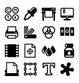 Printing Icons Set on White Background vector image vector image