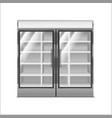 realistic detailed 3d grey supermarket freezer vector image vector image