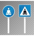 road sign with meditating silhouette vector image vector image