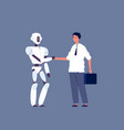 robot handshaking businessman meeting with vector image