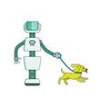 robot housekeeper walks dog - cartoon character vector image vector image