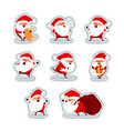 santa claus in different situations stickers set 3 vector image