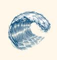 sea wave sketch surfing concept vintage vector image vector image
