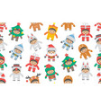 seamless pattern with kids in christmas costumes vector image vector image
