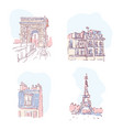 set of of paris landmarks vector image