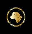silhouette of a dog head in gold circle vector image vector image