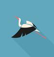 stork logo sign emblem flat on blue background vector image vector image