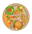 top view fast food set on wooden board vector image vector image