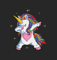 unicorncute unicorn dabbing gr vector image