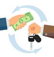 hand giving car keys business car rental vector image