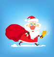 santa claus walks with big red bag of gifts and vector image