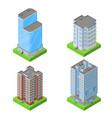 set of isometric block houses vector image