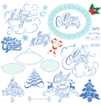 Collection of Christmas and New Year calligraphy h vector image