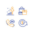 24h service stats and shopping icons set dollar vector image vector image