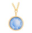 aquamarine pendant mockup realistic style vector image vector image