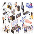 audio studio isometric set vector image