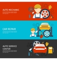 Auto Mechanical Service Horizontal Banners Set vector image vector image