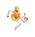 avocado playing soccer ball funny exotic fruit vector image vector image