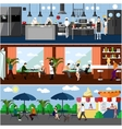banner with restaurant interiors Kitchen vector image vector image