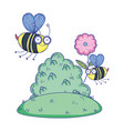 beautiful bees flying in landscape vector image vector image