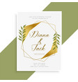 beautiful golden wedding invitation card design vector image vector image