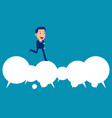 business happy person running over speech bubble vector image vector image
